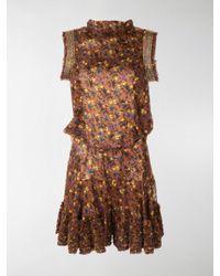 Chloé Brown Embellished Floral-print Playsuit