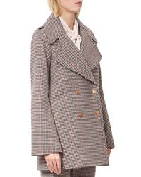 See By Chloé Multicolor Double Breasted Houndstooth Wool Blend Coat