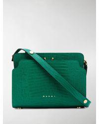Marni Green Trunk Reverse Lizard-effect Shoulder Bag