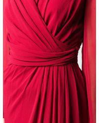Max Mara Red Wickelkleid mit V-Ausschnitt