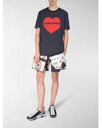 Dolce & Gabbana Black Playing Card Print Swim Shorts for men