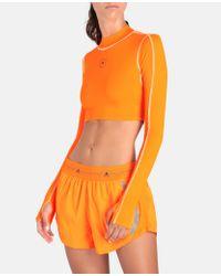 Adidas By Stella McCartney オレンジ ランニング ロングスリーブ クロップ トップ Orange