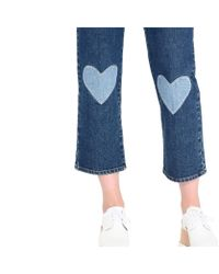 Stella McCartney Blue High Waist Cropped Heart Embroidery Jeans