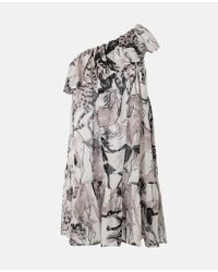 Stella McCartney ホース プリント ワン ショルダー ドレス Gray
