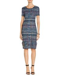 St. John Blue Sale Fil Coupe Water Color Placed Knit Dress