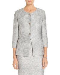 St. John - Gray Sale Glint Knit Jewel Neck Jacket - Lyst