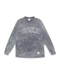 Supreme Gray Acid Wash Arc Logo Ls Tee for men