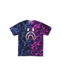 A Bathing Ape Multicolor Color Camo Shark Tee Navy/purple Camo for men