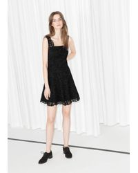 & Other Stories Black Scallop Edge Lace Dress