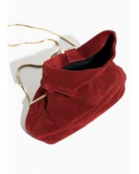 & Other Stories Red Small Suede Fold-over Bag