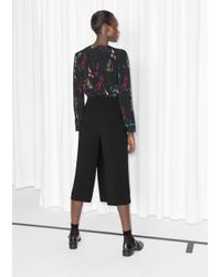 & Other Stories Black Celestrial Print Frill Blouse