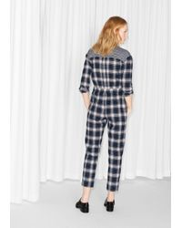 & Other Stories Blue Checkered Cotton Jumpsuit