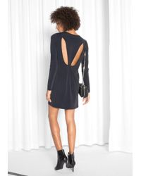 & Other Stories Black Cupro Cut Out Dress