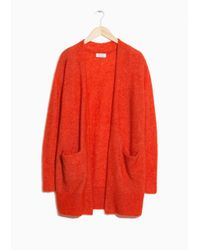 & Other Stories Red Mohair & Wool Cardigan