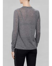 & Other Stories - Gray Perforated Wool Top - Lyst
