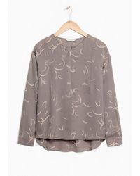 & Other Stories Multicolor New Moon Print Silk Blouse