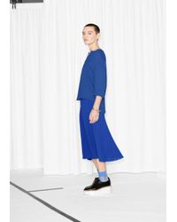 & Other Stories Blue Pleated Midi Skirt