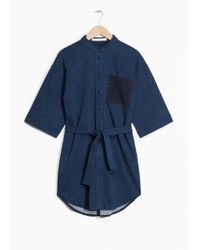 & Other Stories Blue Patchwork Dress