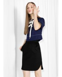 & Other Stories Black Jersey Skirt