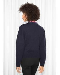 & Other Stories Blue Stone Embellished Sweater