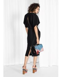 & Other Stories Black Open Back Midi Dress