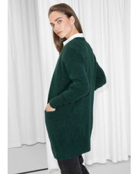 & Other Stories - Green Mohair & Wool Cardigan - Lyst