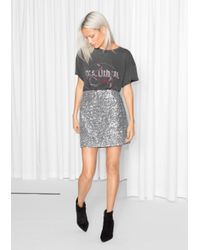 & Other Stories Metallic Silver Sequin Skirt