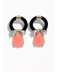 & Other Stories | Black Gemstone Pendant Earrings | Lyst