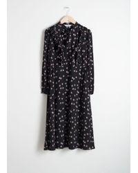 & Other Stories Black Floral Printed Ruffle Bib Midi Dress