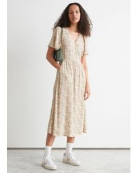 & Other Stories Natural Flutter Sleeve Maxi Dress