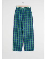 & Other Stories Green Wool Blend Plaid Trousers