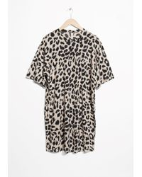 & Other Stories Black Leo Print Dress