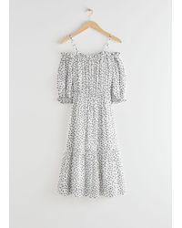 & Other Stories White Chiffon Off Shoulder Midi Dress
