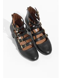 & Other Stories Black Strappy Leather Boots