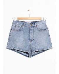 & Other Stories Blue High Waisted Denim Shorts