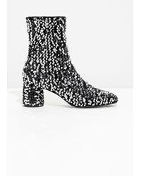 & Other Stories Metallic Sequin Velvet Boots