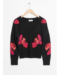 & Other Stories Black Knit Embroidery Sweater