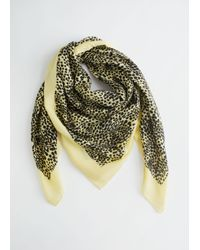 & Other Stories Yellow Striped Light Wool Scarf