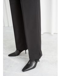 & Other Stories Black Tailored Wool Blend Trousers