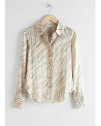 & Other Stories Green Satin Shell Button Blouse