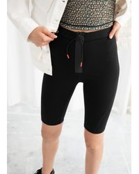 & Other Stories Black Drawstring Fitted Cycling Shorts