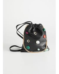 & Other Stories Black Drawstring Leather Pouch Clutch