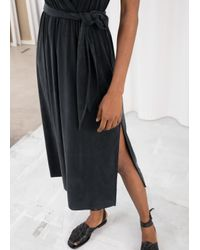 & Other Stories Black Belted Cupro Midi Dress