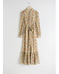 & Other Stories Yellow Floral Ruffled Maxi Dress