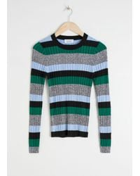 & Other Stories Green Fitted Striped Rib Top