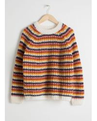 & Other Stories Pink Striped Chunky Knit Sweater