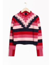 & Other Stories Pink Crochet Cotton Sweater