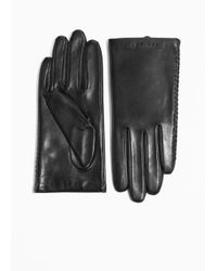 & Other Stories Black Stitched Leather Gloves