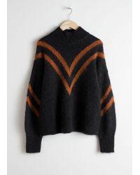 & Other Stories - Black Mock Neck Varsity Stripe Sweater - Lyst