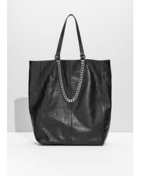& Other Stories Black Chain Leather Tote